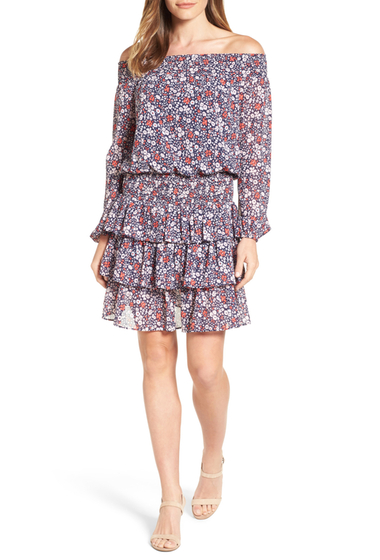 Imbracaminte Femei MICHAEL Michael Kors Brooks Print Off the Shoulder Dress BALLET