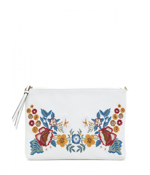 Accesorii Femei CheapChic Flower Up Embroidered Rectangle Clutch White