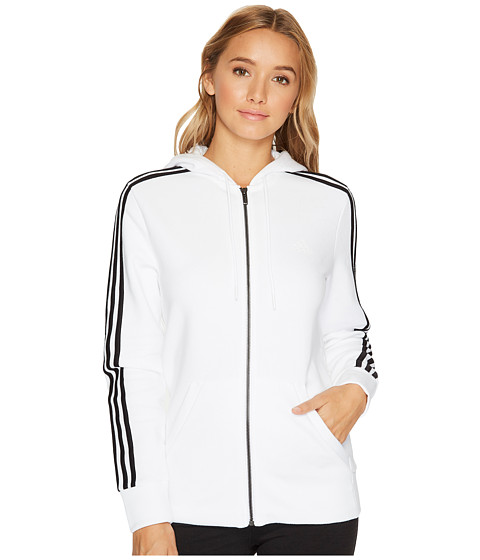 Imbracaminte Femei adidas Essentials Cotton Fleece 3S Full Zip Hoodie WhiteBlack