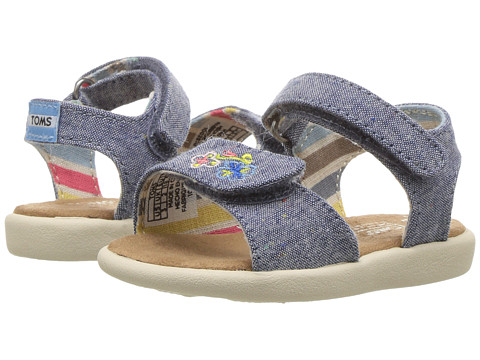 Incaltaminte Fete TOMS Strappy Sandals (ToddlerLittle KidBig Kids) Blue Multi ChambrayEmbroidery