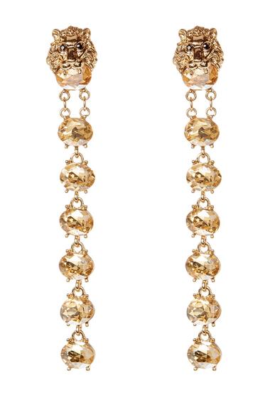Bijuterii Femei Natasha Accessories Lion Crystal Linear Drop Earrings GOLD