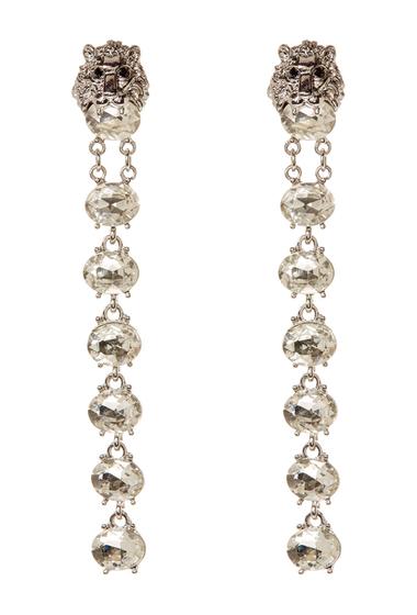 Bijuterii Femei Natasha Accessories Lion Crystal Linear Drop Earrings SILVER CLEAR