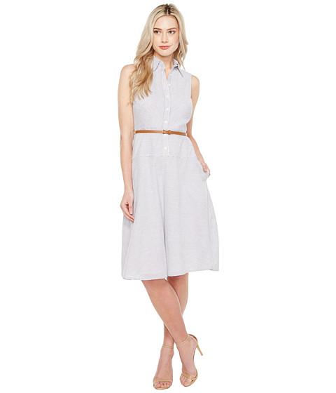 Imbracaminte Femei Donna Morgan Sleeveless Shirtdress with Drop Waist Flare Skirt and Belt Oxford BlueWhite
