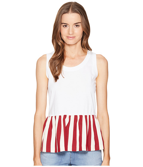 Imbracaminte Femei Red Valentino Light Cotton Jersey amp Striped Cotton Top WhiteRed