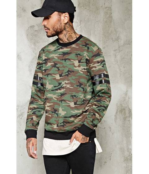 Imbracaminte Barbati Forever21 Stripe-Sleeve Camo Sweatshirt OLIVEBROWN