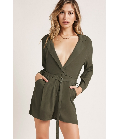 Imbracaminte Femei Forever21 Plunging Belted Romper OLIVE