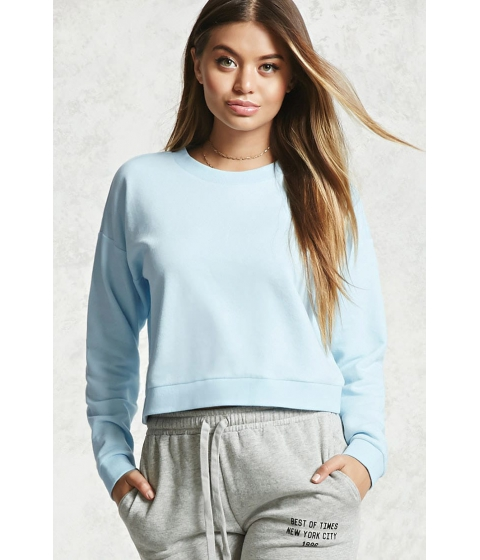 Imbracaminte Femei Forever21 Basic Crew Neck Sweatshirt LIGHT BLUE