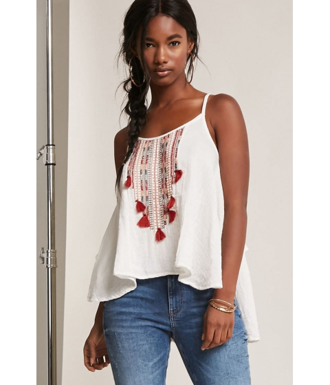 Imbracaminte Femei Forever21 Tassel Embroidered Cami IVORYRUST