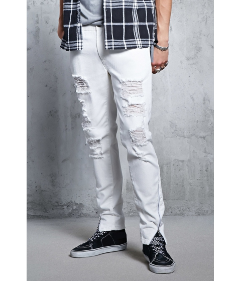 Imbracaminte Barbati Forever21 Zip-Hem Distressed Jeans WHITE