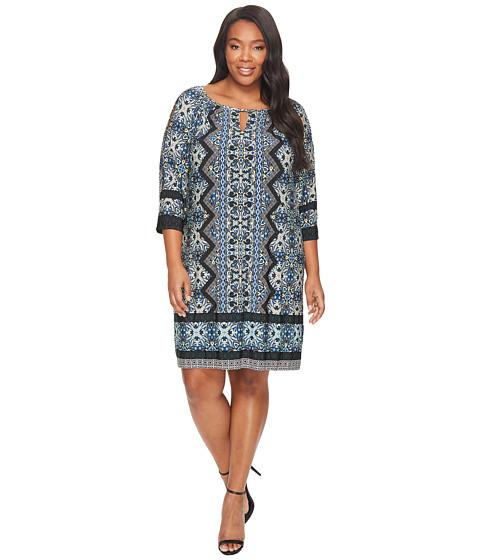 Imbracaminte Femei London Times Plus Size Ornate Diamond Scroll Raglan K Dress Teal