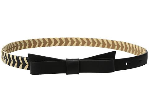 Accesorii Femei Kate Spade New York 58quot Calf Bow Belt w Straw Detail BlackNatural
