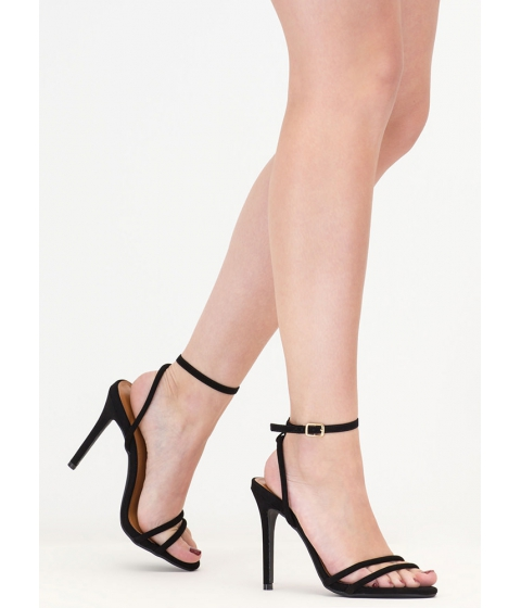 Incaltaminte Femei CheapChic Chic Therapy Strappy Faux Suede Heels Black