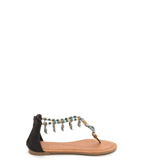 Incaltaminte Femei CheapChic Feather Report Beaded Thong Sandals Black