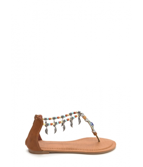 Incaltaminte Femei CheapChic Feather Report Beaded Thong Sandals Tan