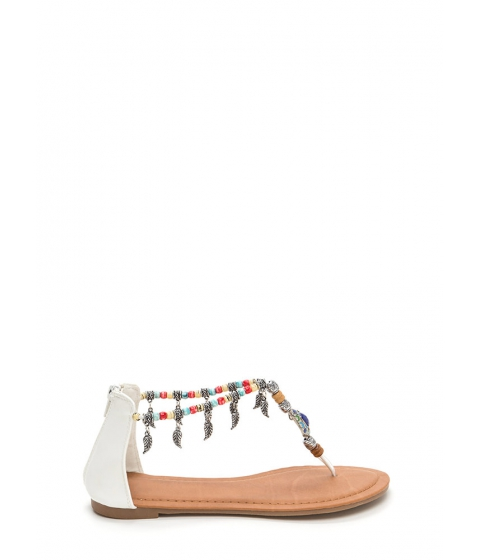Incaltaminte Femei CheapChic Feather Report Beaded Thong Sandals White