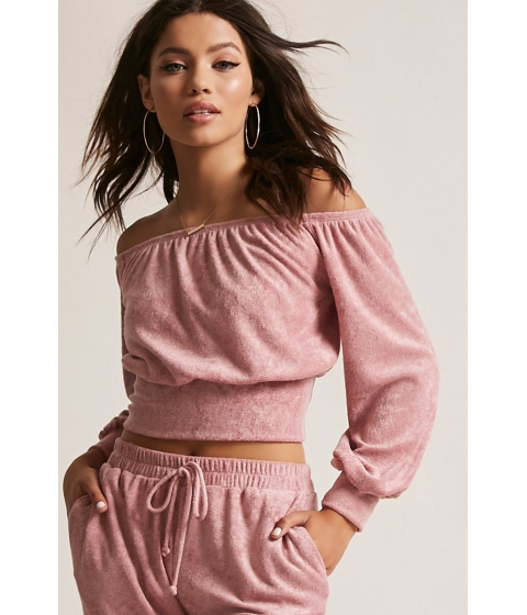 Imbracaminte Femei Forever21 French Terry Knit Crop Top MAUVE