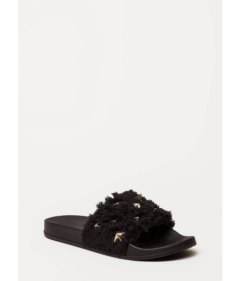 Incaltaminte Femei CheapChic Star-studded Shaggy Slide Sandals Black