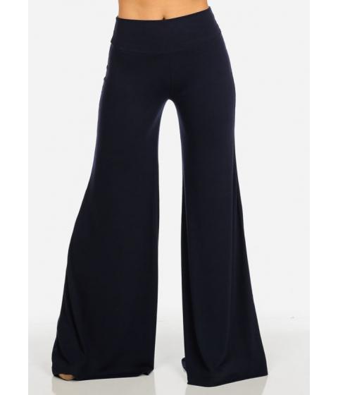 Imbracaminte Femei CheapChic Navy Fold Over Wide Leg Mid Rise Pants Multicolor