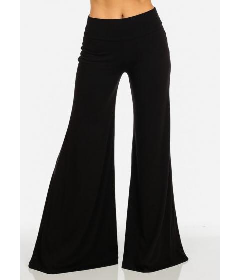Imbracaminte Femei CheapChic Black Fold Over Wide Leg Mid Rise Pants Multicolor