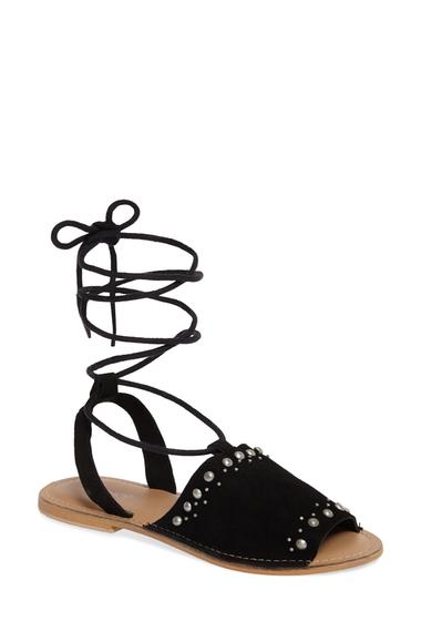 Incaltaminte Femei TOPSHOP Hope Lace-Up Sandal BLACK LEATHER