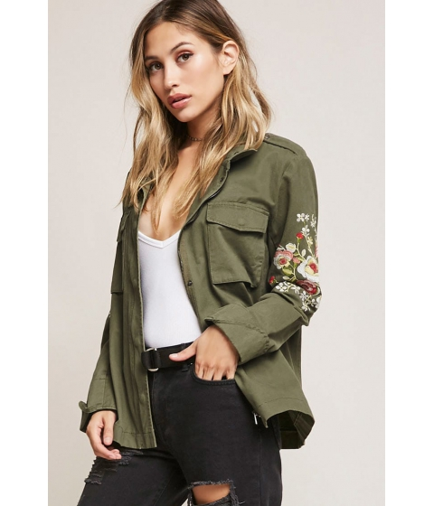 Imbracaminte Femei Forever21 Aryn K Embroidered Utility Jacket OLIVE