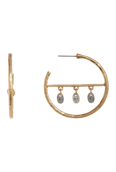 Bijuterii Femei Melrose and Market Leaf Charm 40mm Hoop Earrings GOLD-RHODIUM