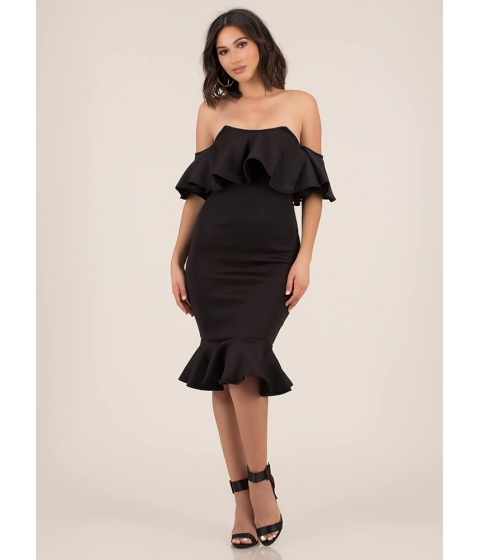 Imbracaminte Femei CheapChic Evening Party Ruffled Off-shoulder Dress Black