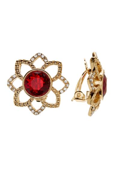Accesorii Femei Carolee Openwork Flower Stone Clip-On Earrings GOLD-BURGUNDY