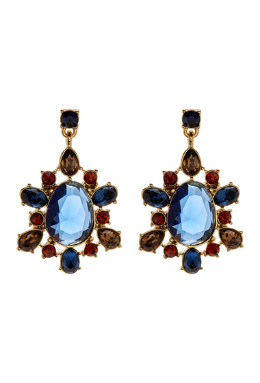 Accesorii Femei Carolee Multi-Stone Cluster Drop Earrings GOLD-BLUE