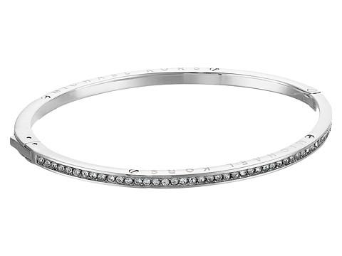 Bijuterii Femei Michael Kors Logo Channel Set Pave and Tone Hinged Bangle Bracelet Silver