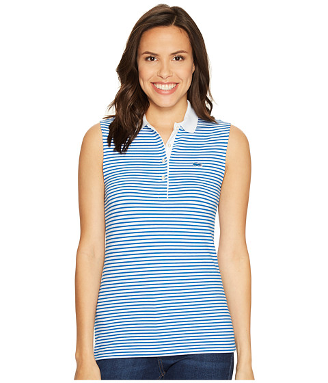 Imbracaminte Femei Lacoste Sleeveless Stretch Petit Pique Striped Polo WhiteSapphire Blue
