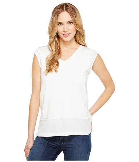 Imbracaminte Femei Calvin Klein Short Sleeve V-Neck with Crepe De Chine Trim Soft White