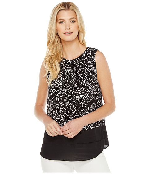 Imbracaminte Femei Vince Camuto Sleeveless Graphic Ribbons Mix Media Layered Top Rich Black