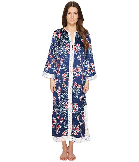 Imbracaminte Femei Oscar de la Renta Floral Print Silky Charmeuse 51quot Zip Front Caftan Navy Bouquet Print