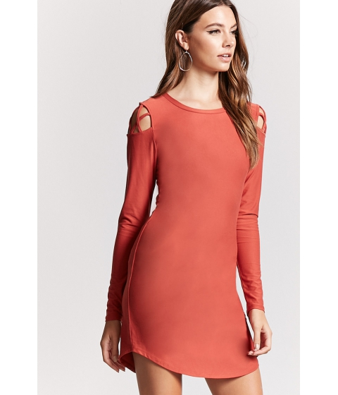 Imbracaminte Femei Forever21 Caged-Shoulder Knit Dress RUST