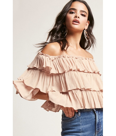 Imbracaminte Femei Forever21 Tiered Ruffle Off-the-Shoulder Top TAUPE