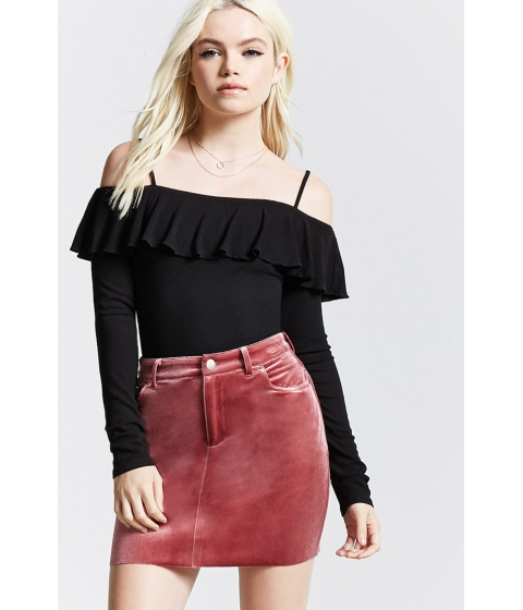 Imbracaminte Femei Forever21 Open-Shoulder Flounce Top BLACK