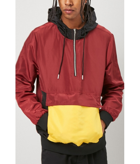 Imbracaminte Barbati Forever21 Colorblocked Anorak Jacket BURGUNDYYELLOW