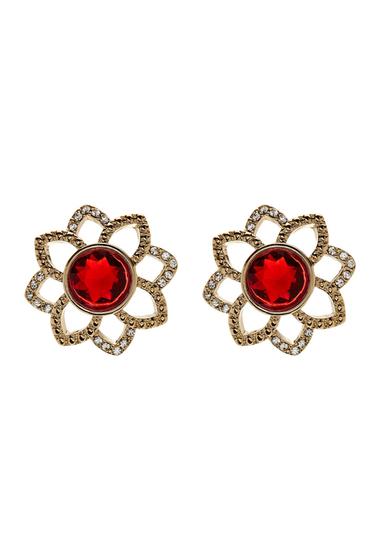 Accesorii Femei Carolee Openwork Flower Button Stud Earrings GOLD-BURGUNDY