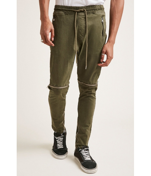 Imbracaminte Barbati Forever21 Zippered Twill Woven Joggers OLIVE