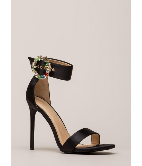Incaltaminte Femei CheapChic Splendid Gems Strappy Satin Heels Black