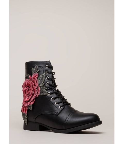 Incaltaminte Femei CheapChic Grow Wild Embroidered Lace-up Boots Black