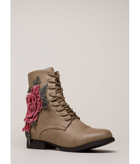 Incaltaminte Femei CheapChic Grow Wild Embroidered Lace-up Boots Taupe