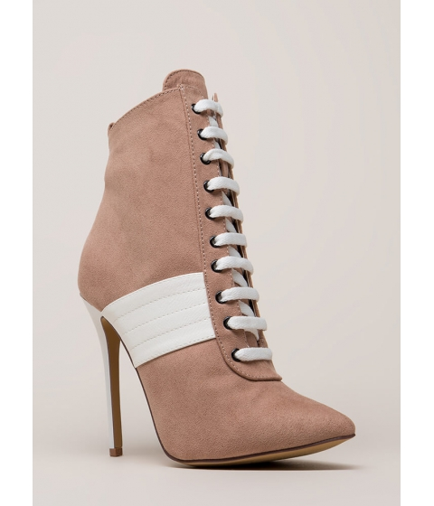 Incaltaminte Femei CheapChic High Contrast Pointy Faux Suede Booties Mauve