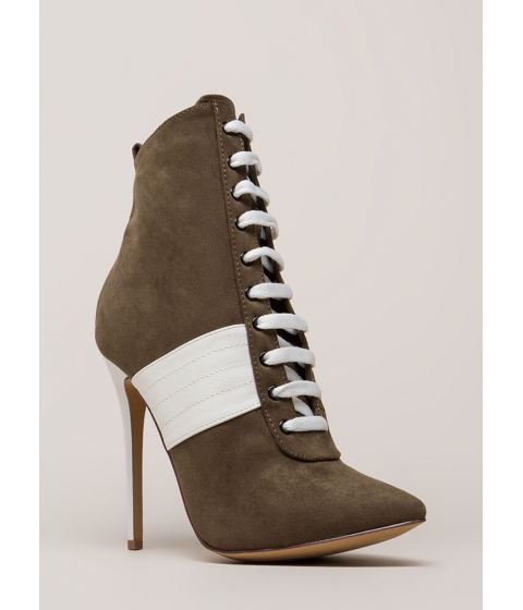 Incaltaminte Femei CheapChic High Contrast Pointy Faux Suede Booties Olive