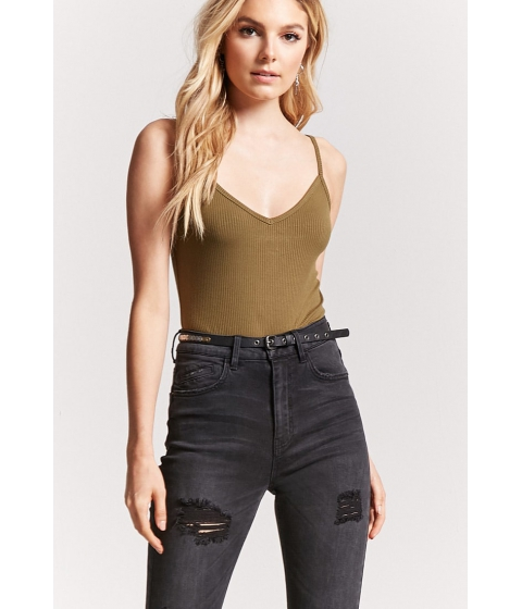Imbracaminte Femei Forever21 Ribbed Cropped Cami OLIVE