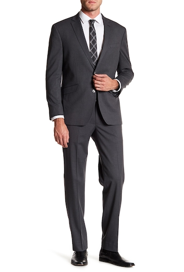 Imbracaminte Barbati Kenneth Cole New York Woven Two Button Notch Lapel Slim Fit Suit MED GREY