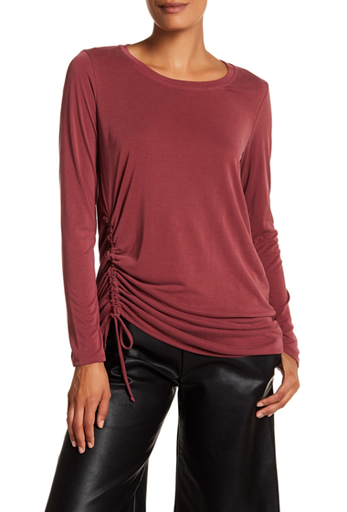 Imbracaminte Femei Harlowe Graham Long Sleeve Ruched Drawstring Top RED CORDOVAN