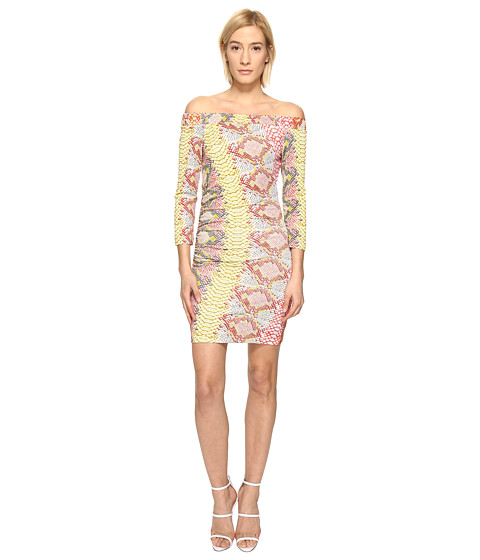 Imbracaminte Femei Just Cavalli Iridescent Python Print Off the Shoulder Dress Apricot Variant