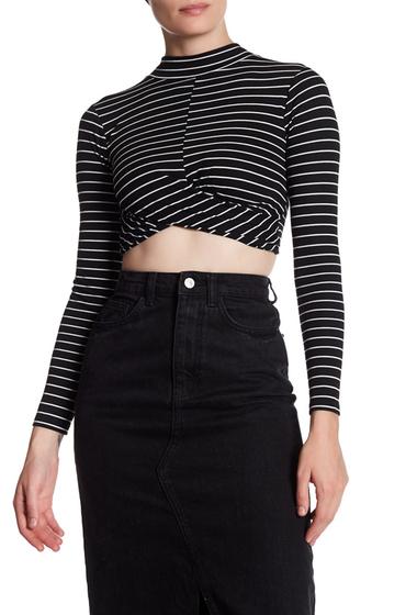 Imbracaminte Femei TOPSHOP Cropped Twist Front Stripe Shirt BLACK